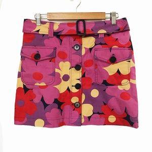 Boden floral cotton canvas button front skirt.